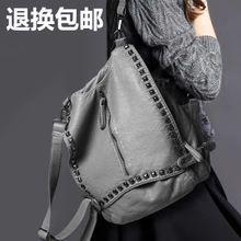 正品代购2015夏新款铆钉软皮双肩包女包欧美旅行背包单肩斜挎包