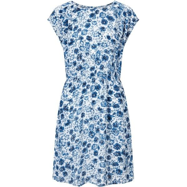 Collection WEEKEND by John Lewis Etched Floral Dress, Blue/White (€68) ❤ liked on Polyvore featuring dresses, cap sleeve dress, blue floral dress, floral print dress, maxi dresses and long-sleeve shift dresses