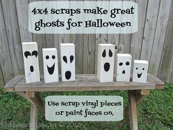 Easy Halloween projects using 4x4 scrap lumber pieces to make ghosts and jack-o-lanterns.