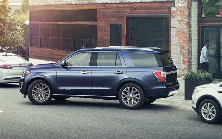 Herunterladen hintergrundbild ford expedition, 2018, luxus-suv, american cars, blue expedition, ford