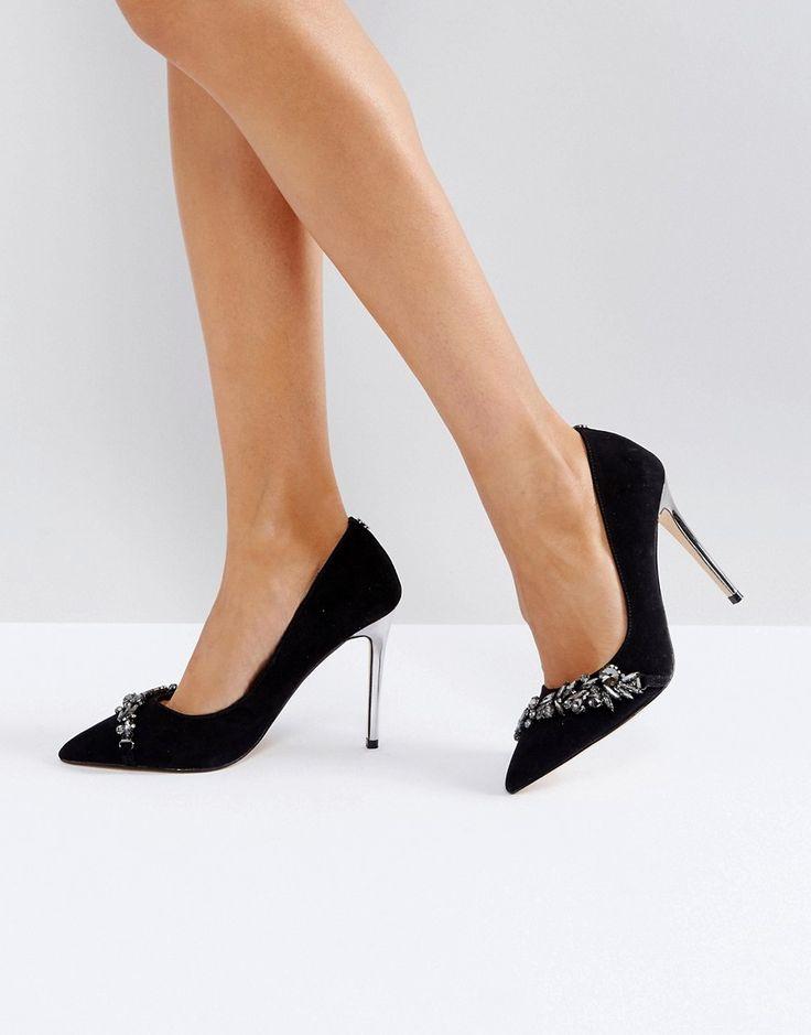 Carvela Jewel Detail Pointed Heeled Shoe - Black