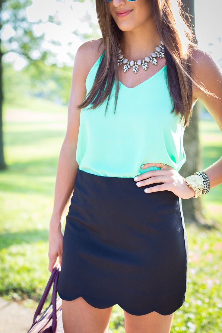 monogram satchel, scallop skirt, mint top, summer outfit ideas // a southern drawl