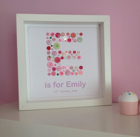 Personalised Button Letter Initial Artwork by ButtonArtbySophie
