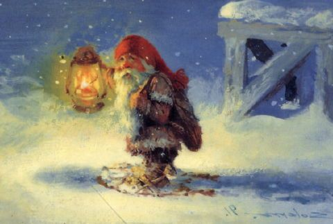 """The Barn Elf (Fjøsnissen) is a creature from Scandinavian folklore. He was often described as a short man, """"no bigger than a horse's head"""", wearing grey clothes, knickerbockers and a red hat similar to what Norwegian farmers would wear."""