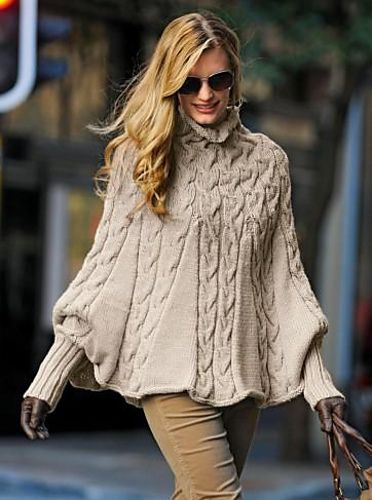 Nikki's Studio: Custom Knit: #396 Poncho by Bergere de France (note: need to purchase pattern)