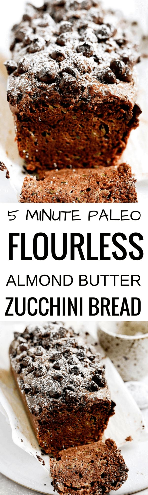 This paleo chocolate zucchini bread is soft, light, and moist, plus gluten free! It's ready for baking in 5 minutes! Easy to whip up in the food processor. Freezer friendly and a crowd pleaser! Easy paleo diet recipes. Best gluten free bread. Easy paleo bread recipe. Best paleo zucchini bread recipe. Easy gluten free zucchini bread. Best gluten free zucchini bread
