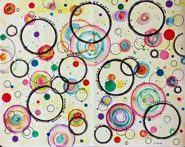 art journal by stephanie.estrin (flickr). markers, sharpie, watercolor pencils. http://stephanieestrin.blogspot.com/2011/01/circles.html