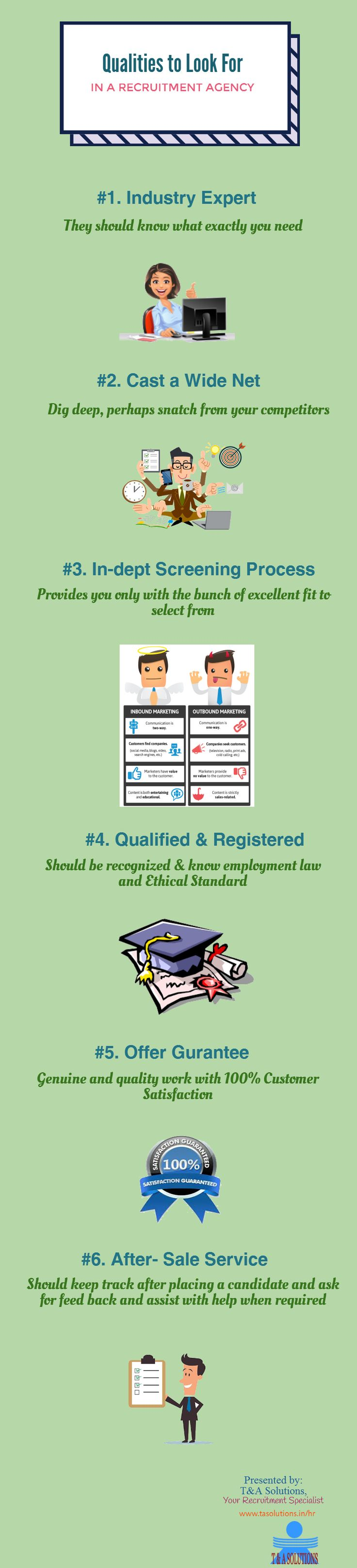 Over the past few years, we have seen the increasing rate of recruitment agencies which are doing their best to provide jobs to the candidates. There are many recruitment agencies which are fake. So, how  people would know which recruitment agency is good for them. In this infographic, we have discussed the qualities which we have to look at before hiring a recruitment agency.