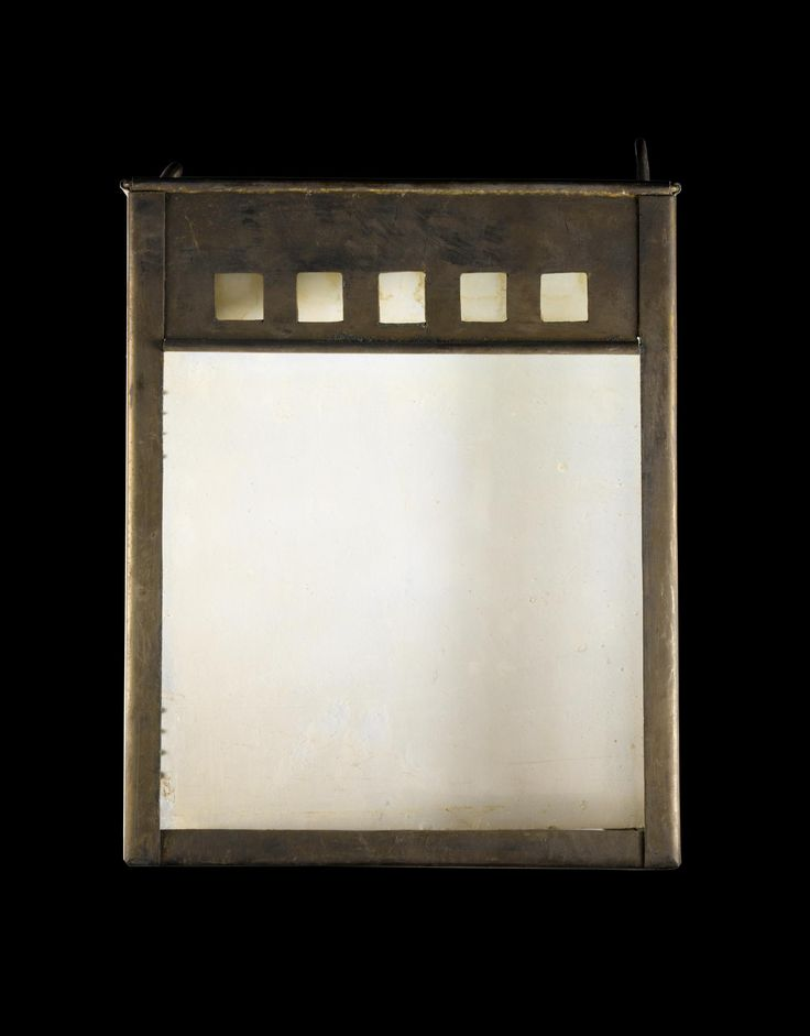 Pendant copper light shade with glass panels: British, designed by Charles Rennie Mackintosh, and made by Andrew Hutcheson, for 14 Kingsborough Gardens, Glasgow, 1902