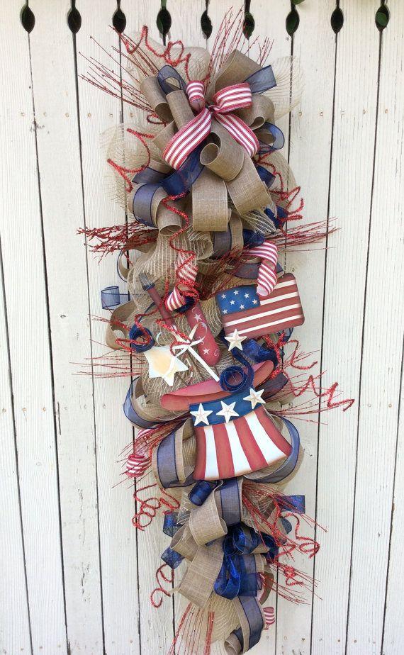 Large 4th of july Swag Americana Wreath Burlap USA by Keleas