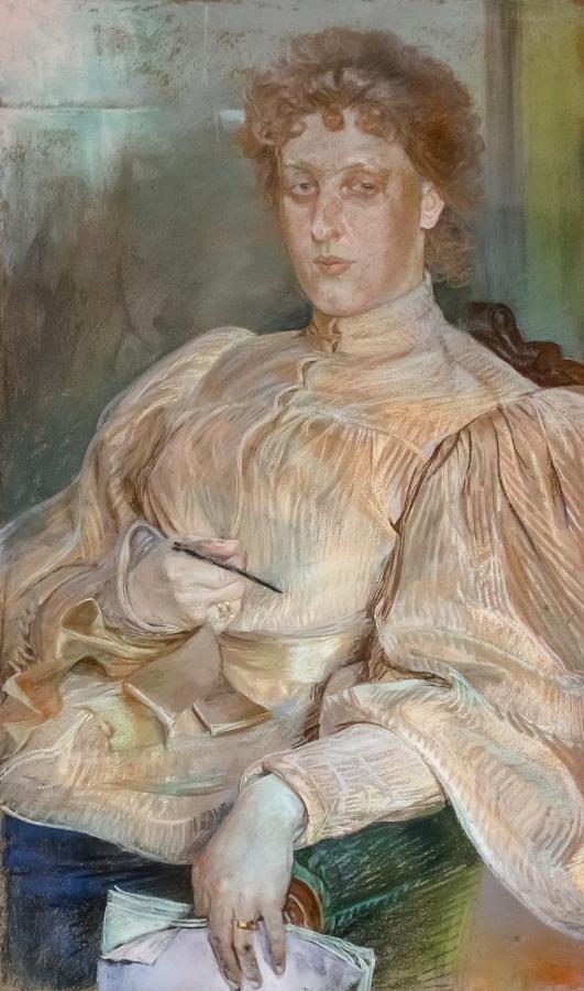 Jacek Malczewski: Portret p. Malczewskiej, 1896 r. pastel, tektura, 96 × 56 cm sygn. i dat. p. g.: Jacek Malczewski/ 96