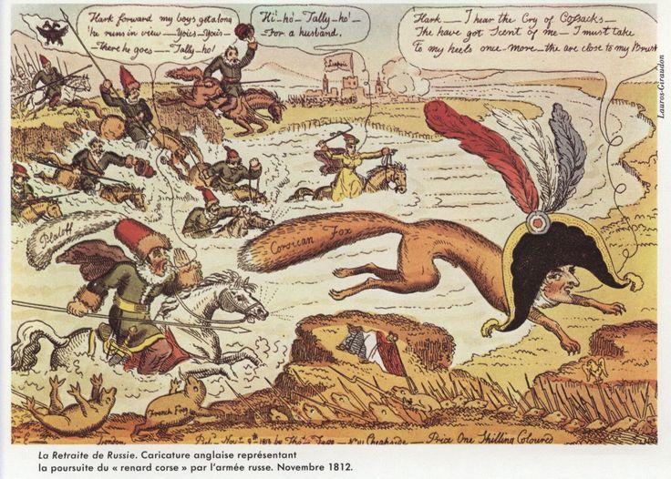 Anonimo, la volpe corsa inseguita dai cosacchi  (disegno satirico dell'epoca)