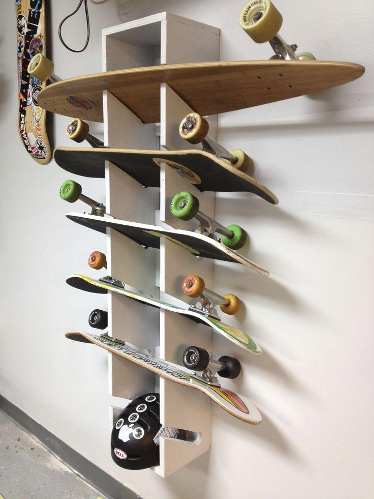 Skateboard Rack | Storage Tips | Pinterest