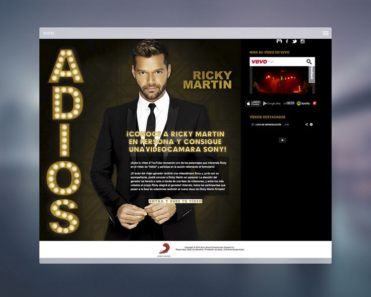 diseño web para ricky martin y su disco adiós.