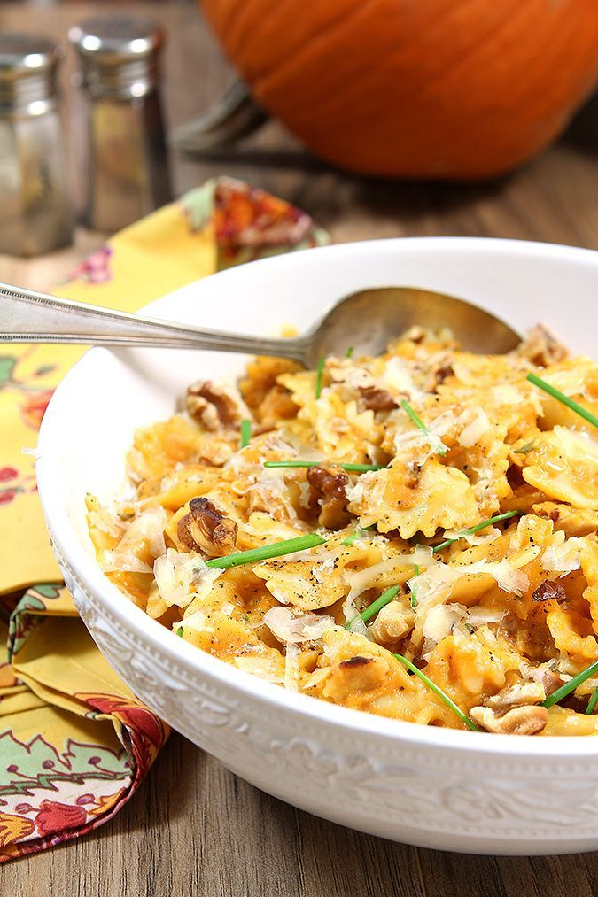 Pasta with Mascarpone Pumpkin Sauce and Toasted Walnuts | Recipe from Creative Culinary