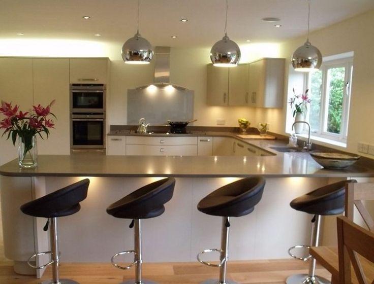 U shaped kitchen designs with breakfast bar — Interior & Exterior Doors Design | HomeOfficeDecoration