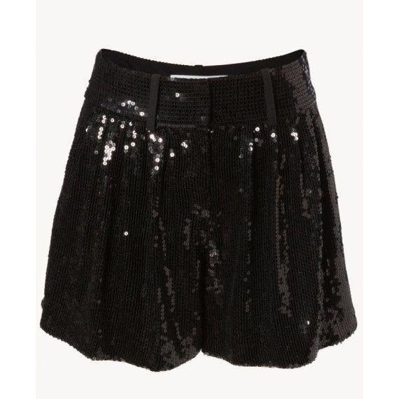 Die perfekte Hose für die Silvester-Party: Pailletten-Shorts in Schwarz von DVF.