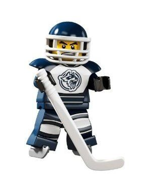 lego hockey by LEGO. $15.00. Accsessories include Hockey Stick, Helmut, Face Guard, Ice skates, Puck and Base Plate. Approx 2 Inches Tall. Choking Hazard for children 3 and under. Hockey Player~ Lego Series 4 Minifigure 8804. Hockey Player~ Lego Series 4 Minifigure 8804. Approx 2 Inches Tall. Accsessories include Hockey Stick, Helmut, Face Guard, Ice skates, Puck and Base Plate. Choking Hazard for children 3 and under