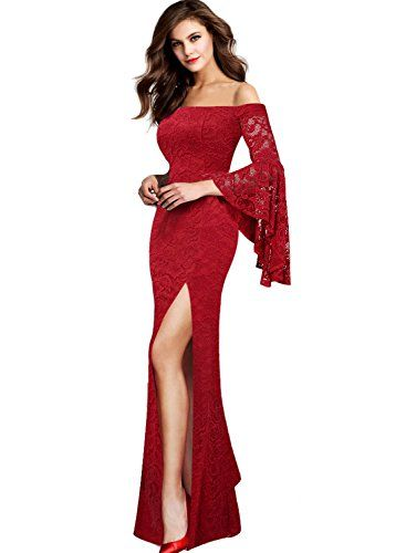 ea8ec779ed87 VFSHOW Womens Floral Lace Off Shoulder Ruffle Bell Sleeve Formal Evening  Party Maxi Dress 2799 RED L
