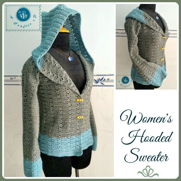 Crochet women's hooded sweater / Crochet Sweatshirt - Free Pattern - Keep you warm in cold weather. Top , Shirt, Jacket