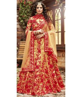 Delicate Red And Beige Silk Lehenga Choli.