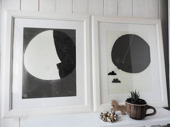 Moon and Sun / LUNA & SOL / Mesíc a slunce - Dark brown version via Etsy