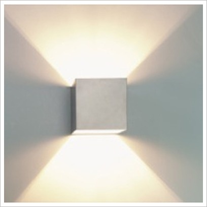 g9 square up down wall light in silver vibe lighting