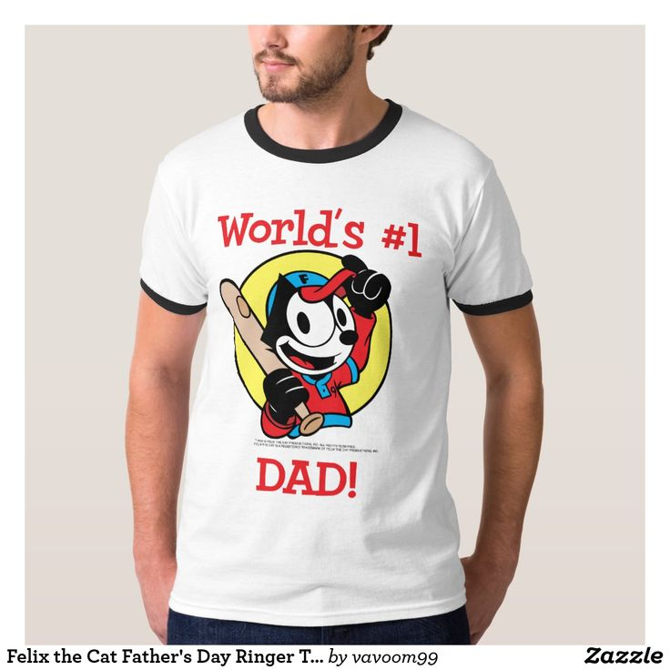 Felix the Cat Father's Day Ringer T-Shirt. Regalos Padres, fathers gifts. T-Shirt. Producto disponible en tienda Zazzle. Vestuario, moda. Product available in Zazzle store. Fashion wardrobe. Regalos, Gifts. Trendy tshirt. #camiseta #tshir #DiaDelPadre #FathersDay