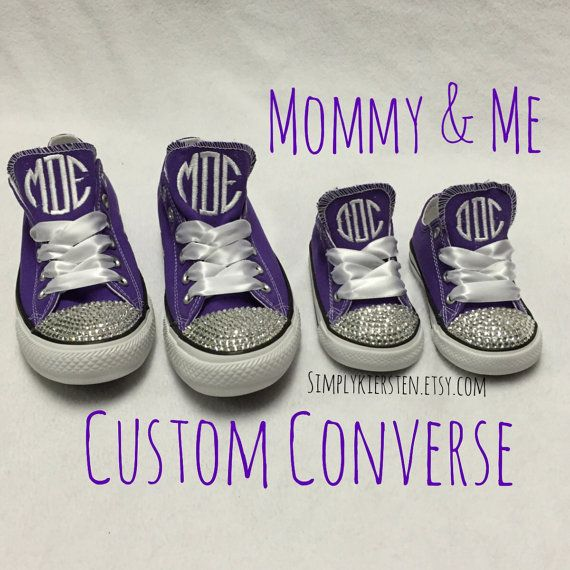Mommy and Me Monogrammed Converse All Star ® Sneakers with Bling. Mommy and Me Clothing