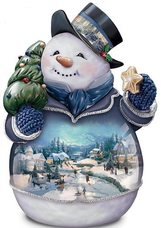 Cookie Jar - Two holiday traditions come together in this first-ever Bradford Exchange exclusive Thomas Kinkade snowman cookie jar, featuring the beloved artwork of the Painter of Light Collectible ceramic snowman cookie jar is handcrafted, hand-painted and hand-glazed to highlight the intricate details and...  #Christmas