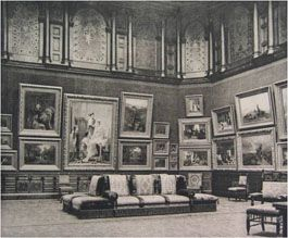 William Henry Vanderbilt's art gallery. Located at 640 Fifth Avenue, in his Gilded Age NYC mansion. Vanderbilt would open his home to visitors to see his private two-story art gallery. He had a entrance to his mansion on 51st Street, where the public could enter, the mansion. His first reception on March, c.1882, was attended by 2,500 invited guests, men only. Over the next two years, he gave the public the opportunity to view his paintings, in his art gallery. {CWL}