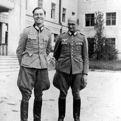 "Better known as simply ""Claus von Stauffenberg"". Here he is standing beside soon-to-be fellow conspirator Friedrich Olbricht. 	1944       from July - more than 5000 Germans, among them R"