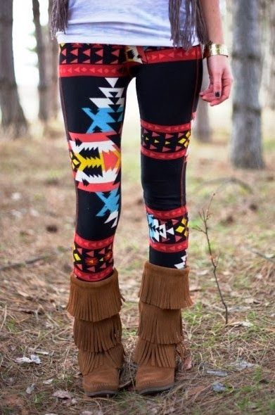 Adorable navajo aztec tribal print leggings fashion - I couldn't get away with the leggings but I LOVE the boots!!