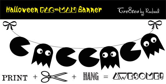 Pac-Man Halloween Printable Banner - Decoration - Black and White - INSTANT DOWNLOAD