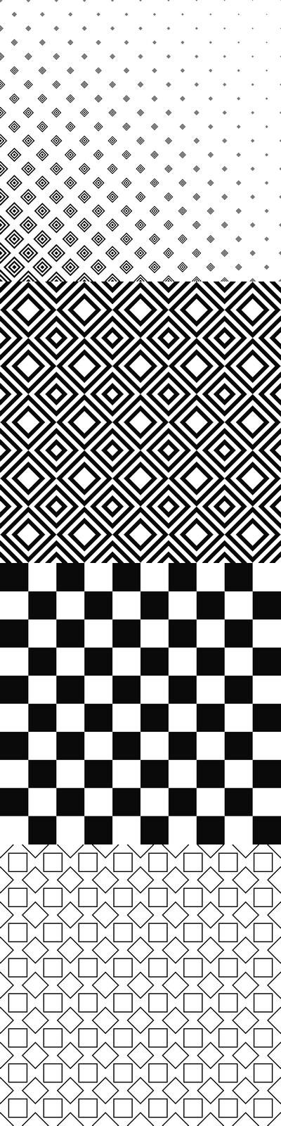 Black and white square pattern background collection - 99 vector patterns (EPS + JPG)