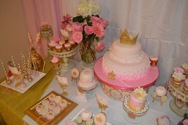 Check out this dessert table at a Princess Party!  See more party ideas at CatchMyParty.com!  #partyideas #princess