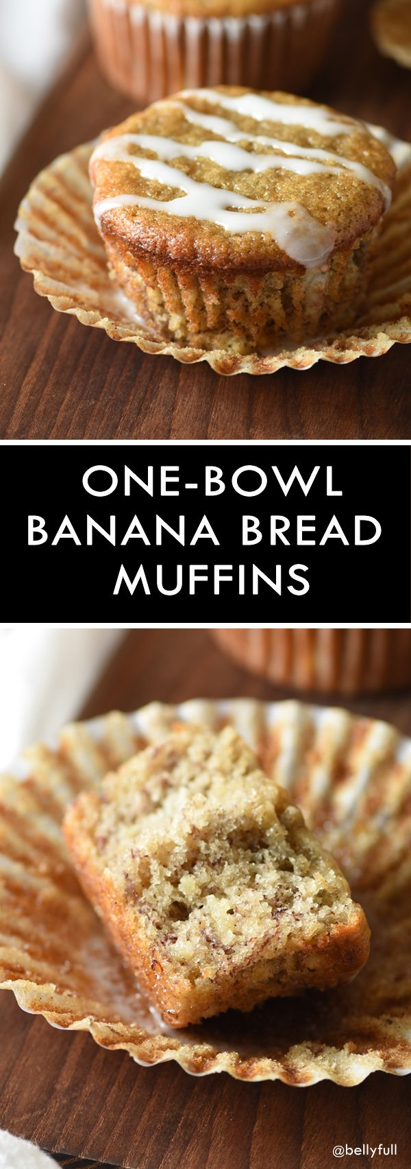 It's classic banana bread converted to muffins with added Greek yogurt for less guilt, and all made in one bowl. Delicious and portable!