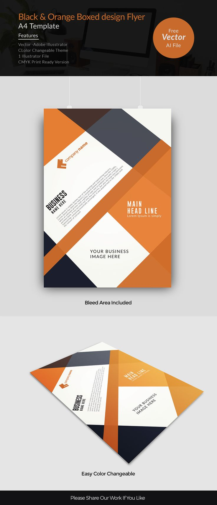 black and orange boxed design corporate flyer free vector