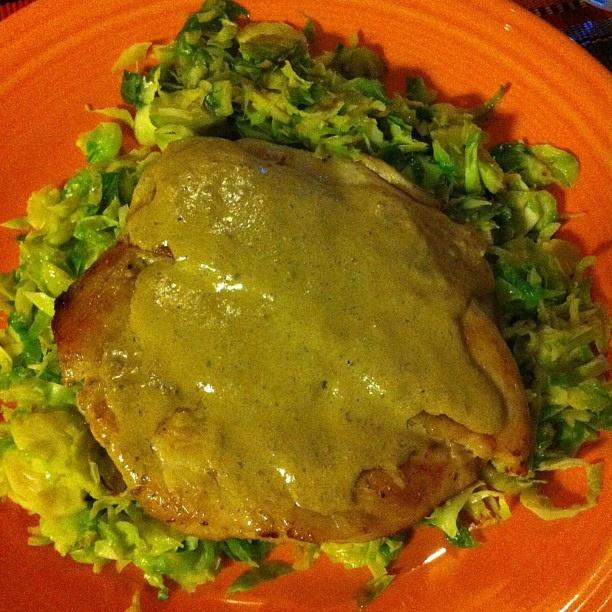 chicken with mustard cream sauce sautéed brussels more cream sauce ...