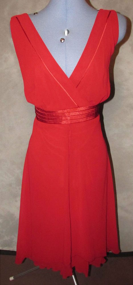 Debenhams,ladies,plus,size 18,red,no pattern,v neck,sleeveless,Formal,Dress.