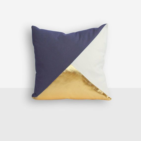 Designer white, navy and metallic gold pillow cover in geometric design.    + Sizes 40 x 40cm approx. 16 x 16, 45 x 45cm approx. 18 x 18 50 x 50cm