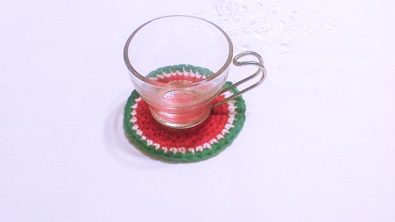 Hey, I found this really awesome Etsy listing at https://www.etsy.com/listing/177446171/crochet-coaster-watermelon-coasters-home