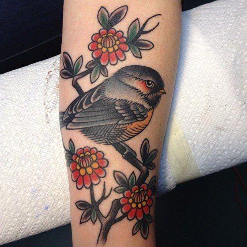 bird  flowers #tattoos I want this but a cardinal