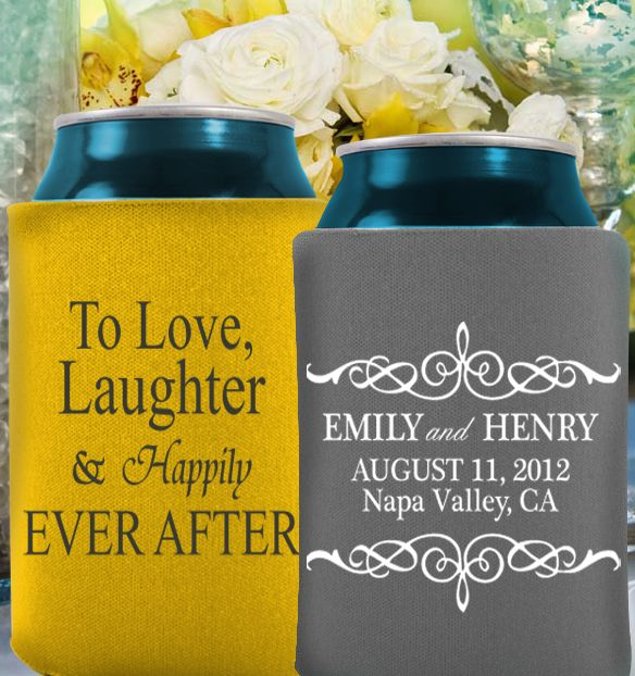 Hot New Wedding Design For Koozies Custom Are The Perfect Favor 1 Color Or Multi We Got It All