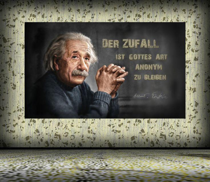 Leinwand oder Poster Albert Einstein, Gott bleibt im Zufall anonym, wirkungsvoll