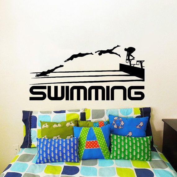 Wall Decal Vinyl Sticker Decals Art Home Decor Design Mural Swimming Sport Logo Emblem Swimmer Gift Office Window Bedroom Dorm Room AN172