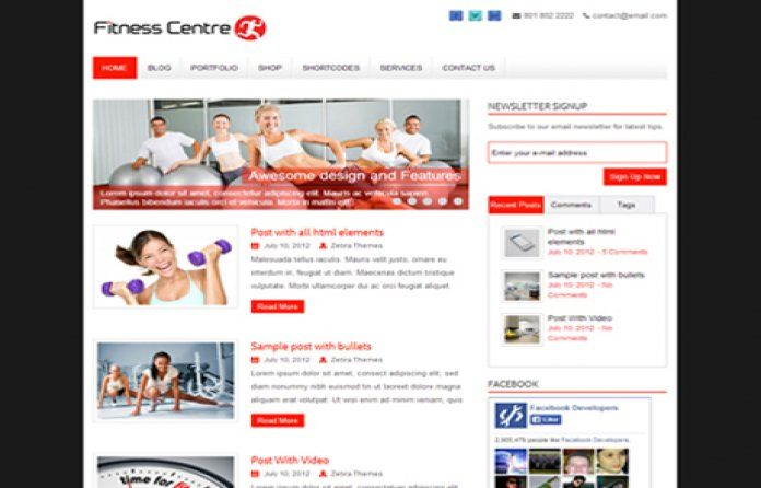 FitnessCenter - #Free WordPress #theme for Gym and #Fitness trainer websites. Comes with #responsive design.