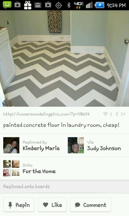 painted concrete floor. It's unlikely I have the wherewithal to pull this off, but I like it!