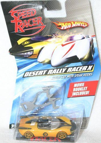 Speed Racer Desert Rally Racer X (Street Car with Spear Hooks) 1:64 by Mattel. $14.95. Includes Movie Booklet. Desert Rally Racer X. 1:64 scale. Street Car with Spear Hooks. Hot Wheels Speed Racer Desert Rally Racer X (Street Car with Spear Hooks). 1:64 scale. Movie booklet is included.