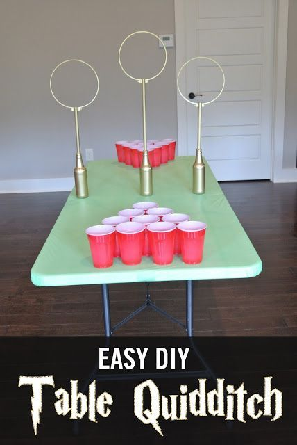 Easy DIY Quidditch Game.  Table Quidditch can be played as Quidditch Beer pong or as a fun game with kids on a points system.  Easy to make and very fun for Harry Potter fans of all ages!  Great for Harry Potter Birthday Parties, Showers, etc.